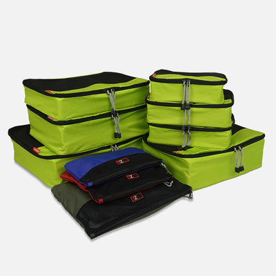 The Lime/Black 10 Pc Packing Cube Bundle features compression zippers and see through mesh for better packing
