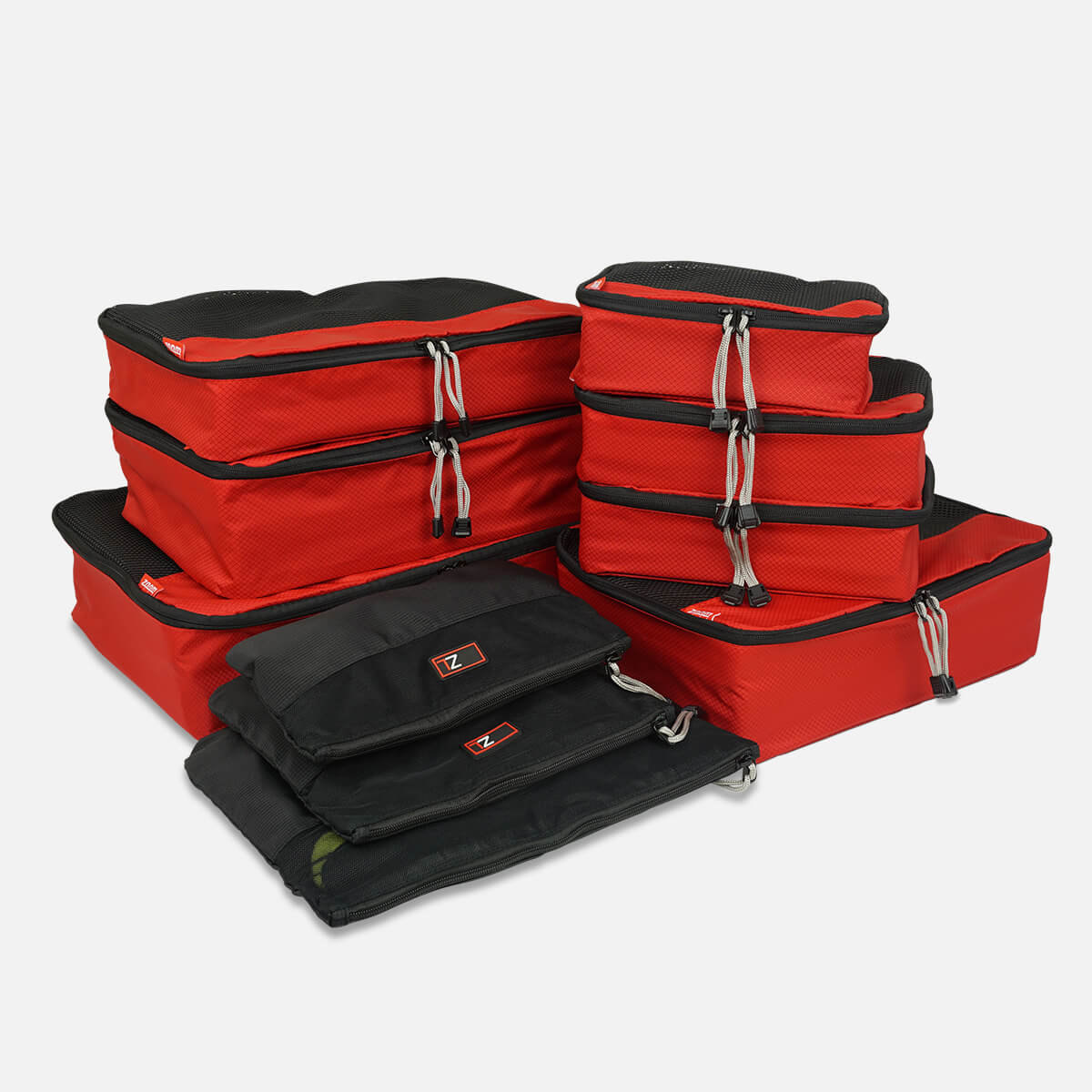 Organise Your luggage with travel packing cubes - 10 Pc Packing Cube Set in Red/Black