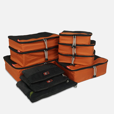 Rust/Black Packing Cube Set - prevents your clothing from being wrinkled during travel. They help you pack organized so you can fit more in your luggage and find things easily.