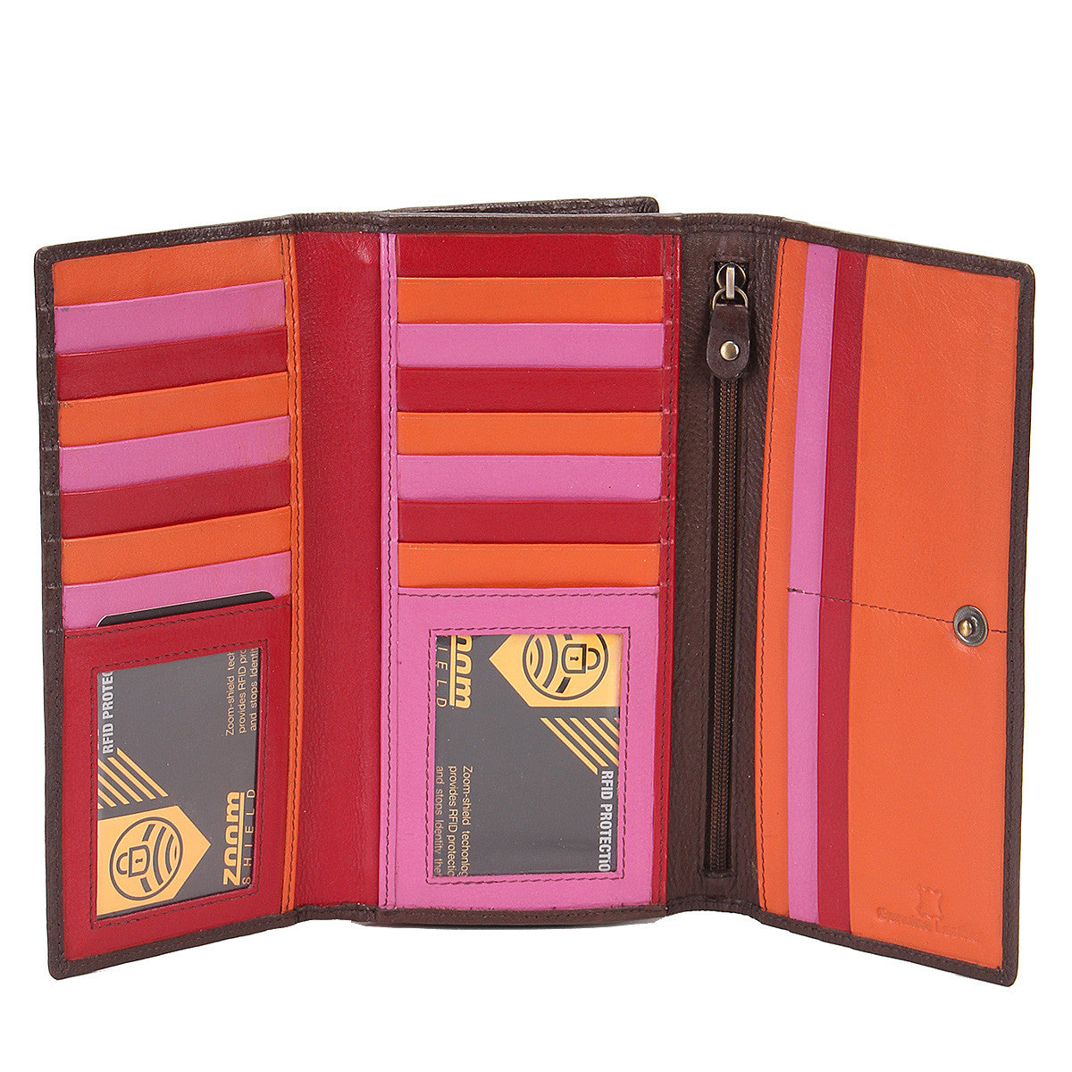 Zoomlite leather RFID wallet with lots of card spaces and 2 zip compartments