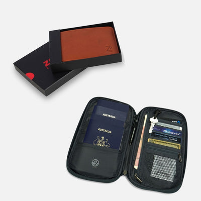 bundled picture of Unisex slim genuine leather wallet rfid protected in gift box with a rfid protected travel wallet which fits 4 passports, multiple currencies, keys, coins, cards, pens and tickets