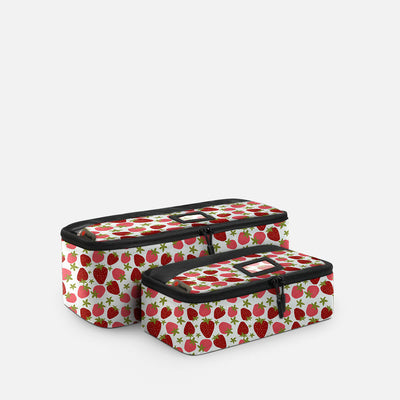 Sustainable Designer Printed Packing Cubes - 2 Piece Slim Set