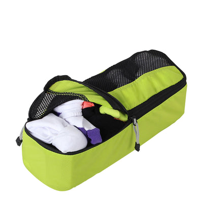Slim Packing Cube from Zoomlite in Lime with socks