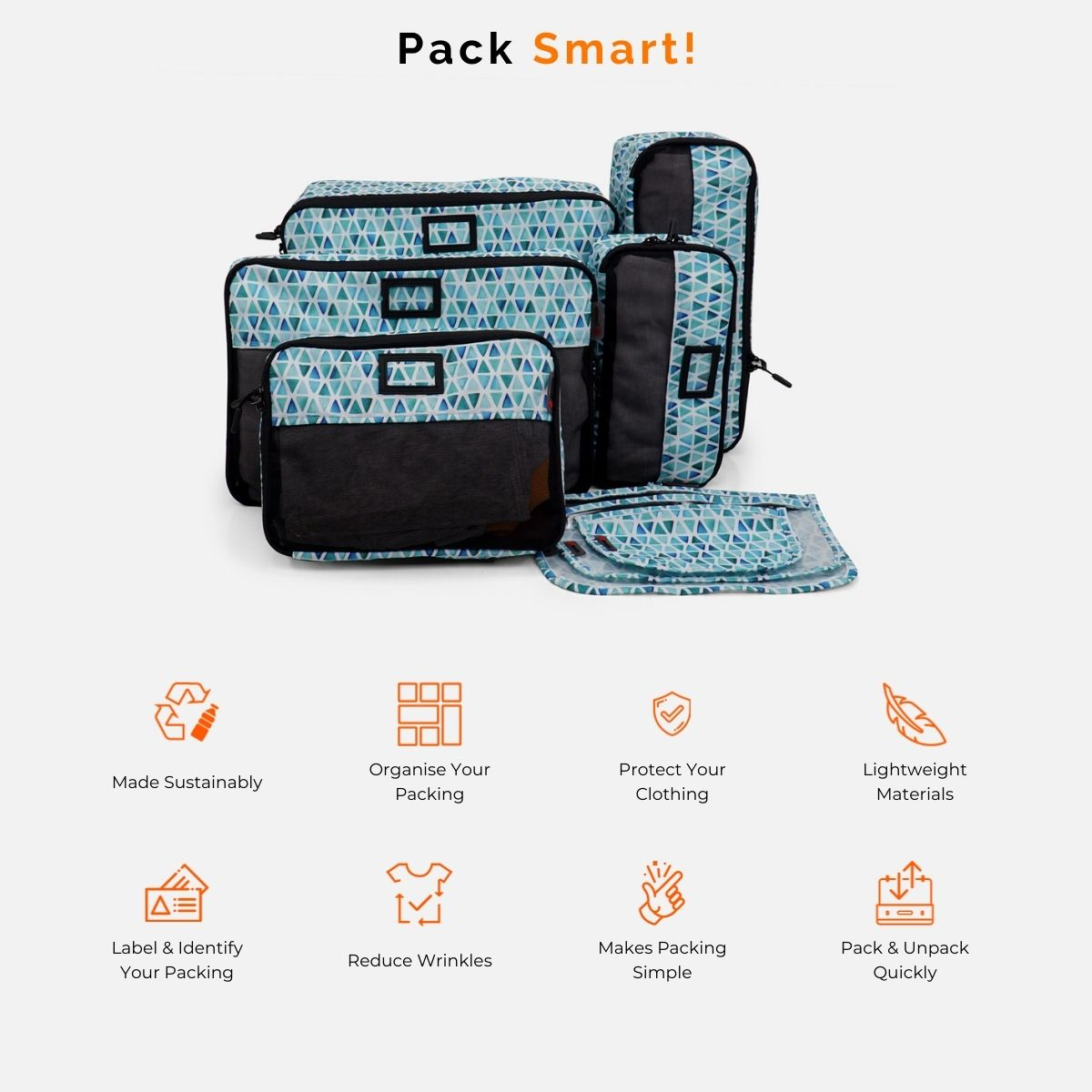 Staycation 8 Piece Sustainable Packing Cube Bundle