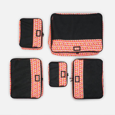 Sustainable Designer Print Packing Cubes 5 pc Set