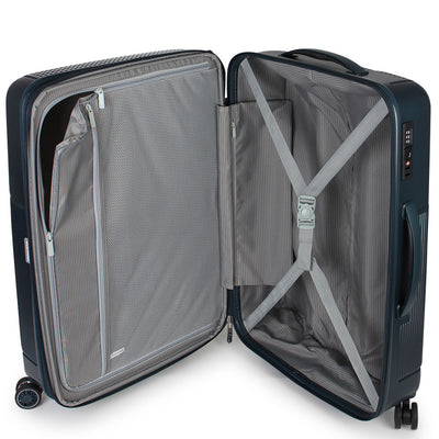 Zoomlite Titania luggage with book style opening to allow you to find things more easily