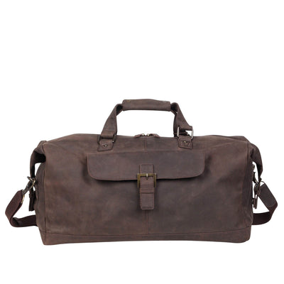Zoomlite Toby Weekender Duffle bag in vintage look leather with a front organizer pocket