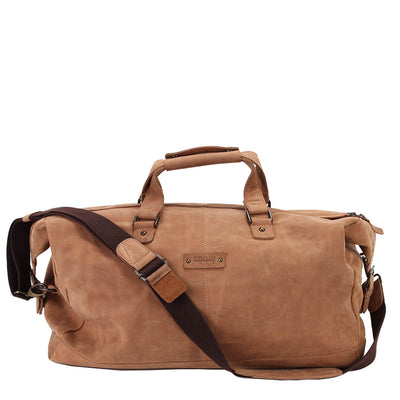Zoomlite Toby Weekender Duffle bag in vintage look leather has a detachable shoulder strap