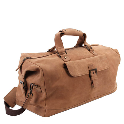 Zoomlite Toby Weekender Duffle bag in Camel Brown coloured vintage look leather