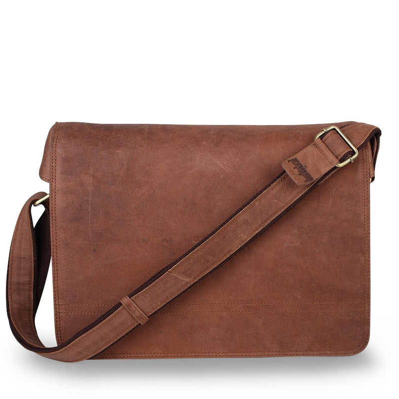 Zoomlite Cambridge leather Messenger bag in vintage look leather with suede feel