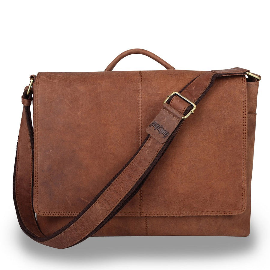 Zoomlite Parker laptop messenger bag in vintage look, suede touch leather