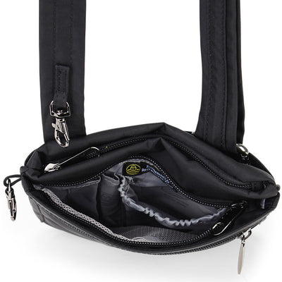 Zoomlite anti theft bags - slim crossbody Black showing organiser section