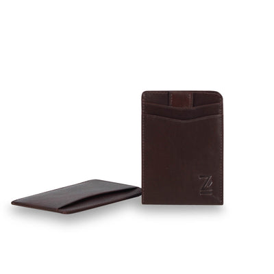 Zoomlite Brown leather slim wallet with RFID blocking technology