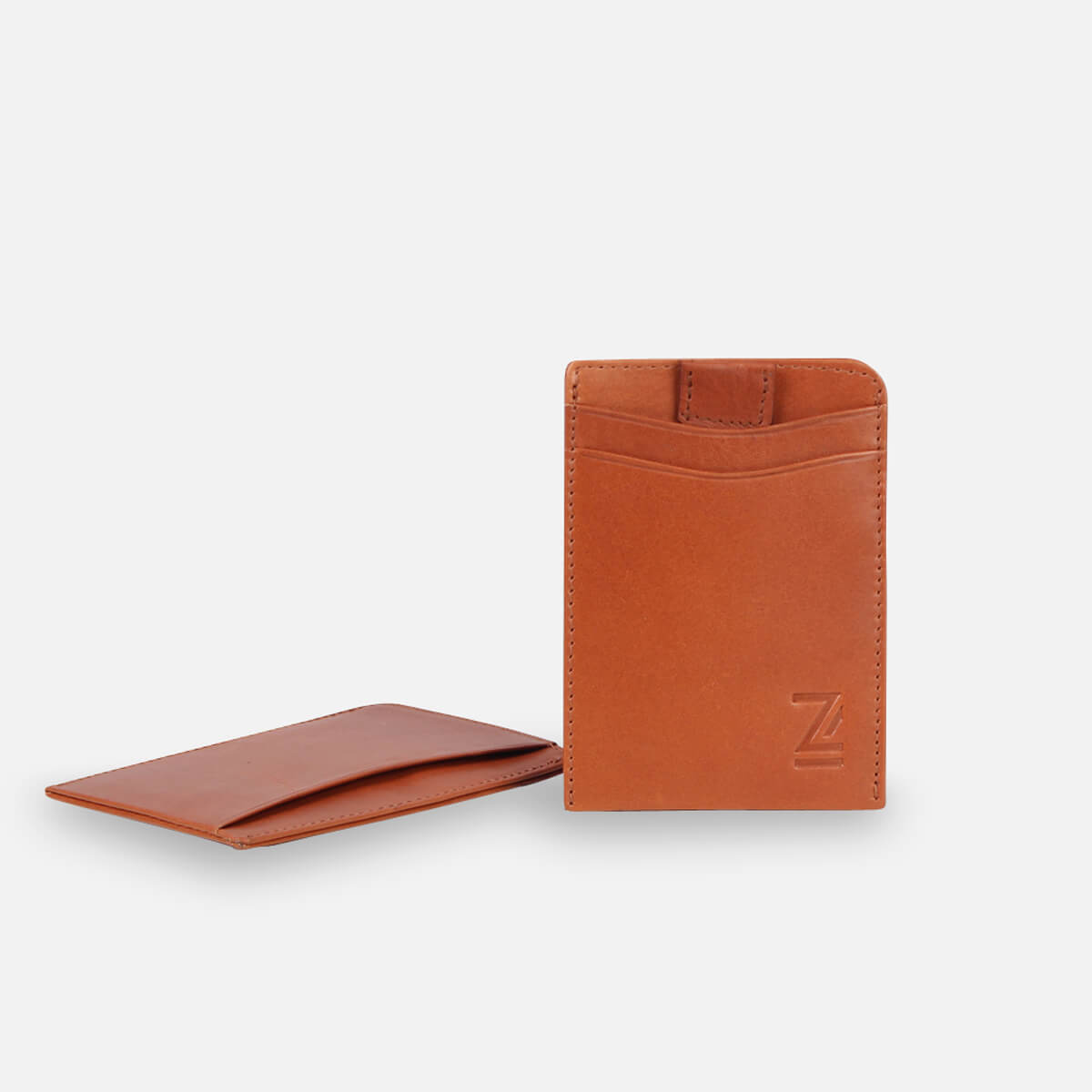 Zoomlite Tan leather minimal wallet with RFID protection