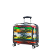 "Zoomlite Carlos Falchi 17"" Wheeled Spinner Case in Rainbow Snake print"