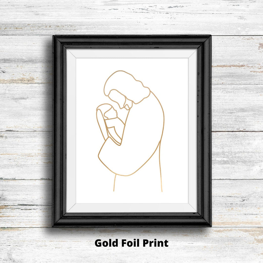 Gold Foil Christ With Infant Print - Kierra B Art