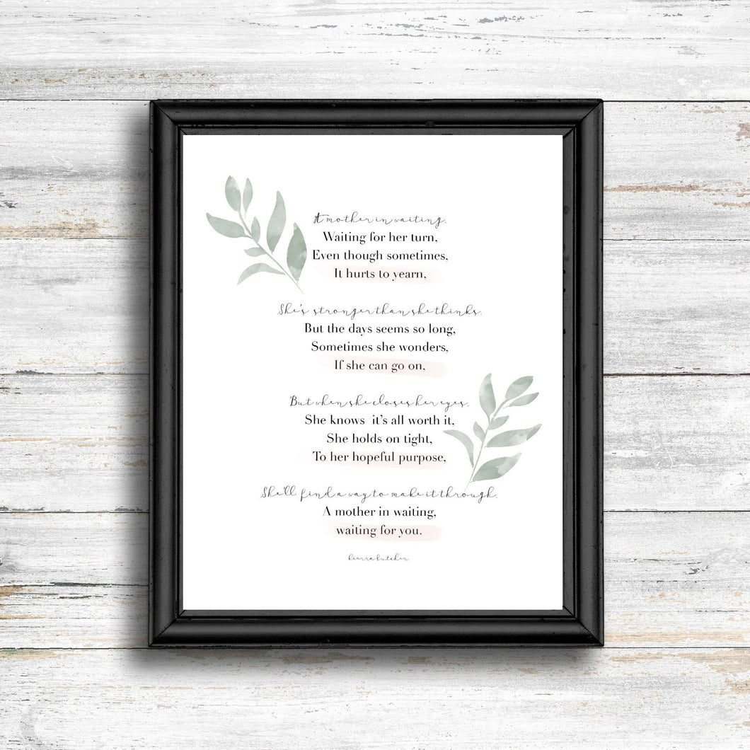 Mother In Waiting Poem Print - Kierra B Art