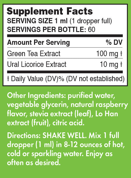 Pure Inventions Green Tea Extract Raspberry Water Infusion Drops