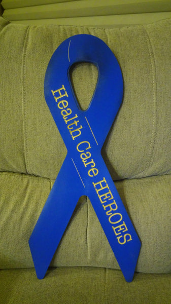 Healthcare Heroes Blue Ribbon Wood Sign,       DIY and Custom Available