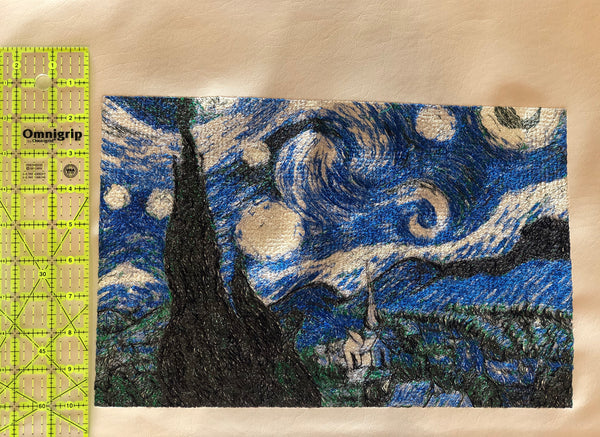 Embroidery on Marine Vinyl - Starry Night to HANG ON THE WALL