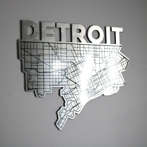 Detroit Map In Steel