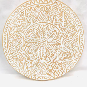 WHITE WASH HAND CARVED WALL ART