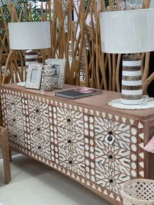 WHITE WASH IBIZA CARVED BUFFET