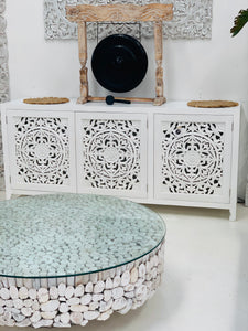 WHITE ISLAND ORNATE CARVED BUFFET