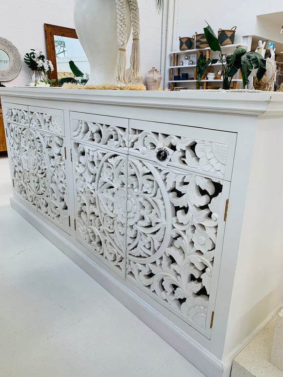 WHITE CARVED BUFFET