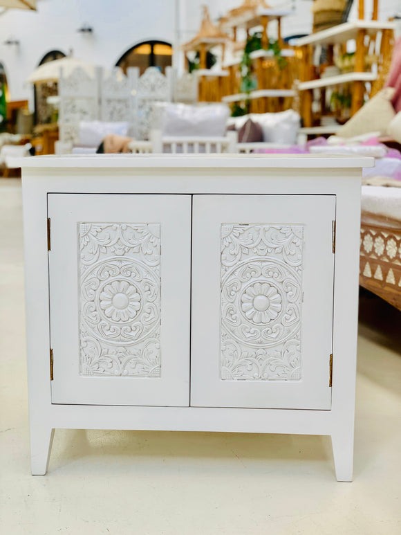 WHITE ISLAND CARVED SIDE TABLE