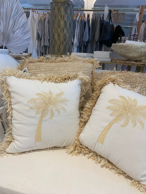 PALM CUSHION - LINEN & RAFFIA