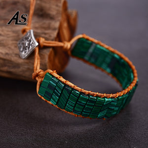 Asingeloo Green Malachite Natural Beads Leather Rope Wrap Thread Handmade Tube  Jewelry Vintage Cuff Bracelet  Bohemia
