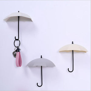 3pcs/set Multifunction Umbrella Wall Hook Cute Umbrella Wall Mount Key Holder Wall Hook Hanger Organizer Durable Key Holder