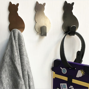2pcs Self Adhesive Hooks Cat Pattern Storage Holder for Bathroom Kitchen Hanger Stick on Wall Hanging Door Clothes Towel Racks