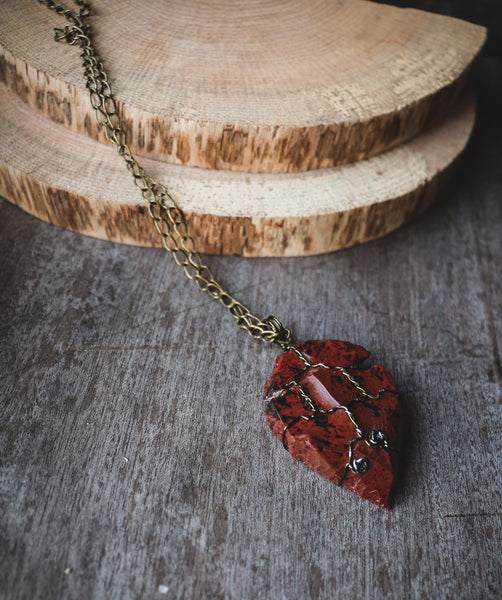 Mahogany Obsidian Arrowhead / Antique Bronze - LovelyOdds