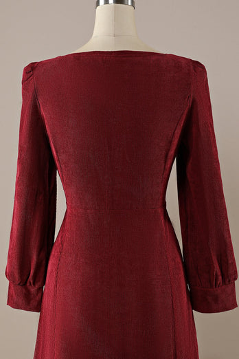 Bordeaux Retro Square Neck Corduroy A-line Jurk