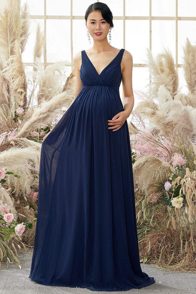 Afbeelding in Gallery-weergave laden, V nek Lange Moederschap Bridesmaid Dress