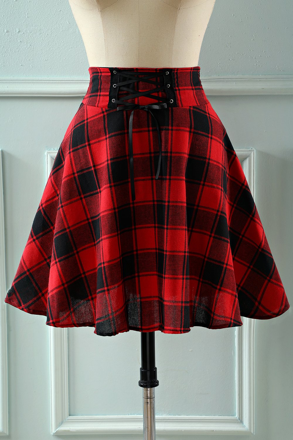 Rode Plaid Hoge Taille Rok