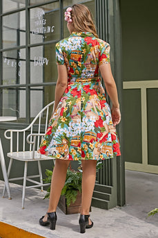 Vintage Print jaren 1950 Swing Dress