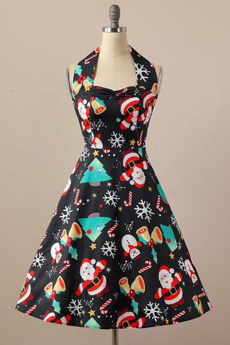 Retro Halter Kerstfeest Jurk