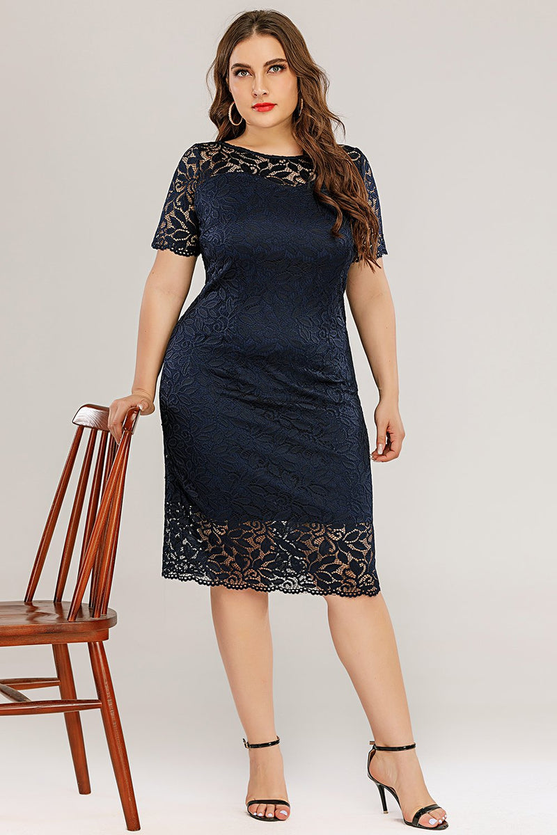 Afbeelding in Gallery-weergave laden, Navy Bodycon Kant Plus Size Jurk