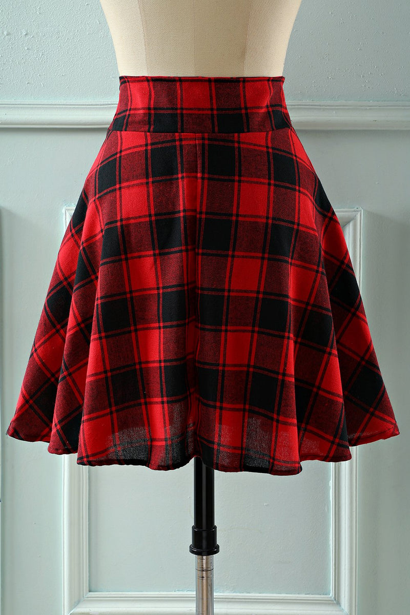 Afbeelding in Gallery-weergave laden, Rode Plaid Hoge Taille Rok