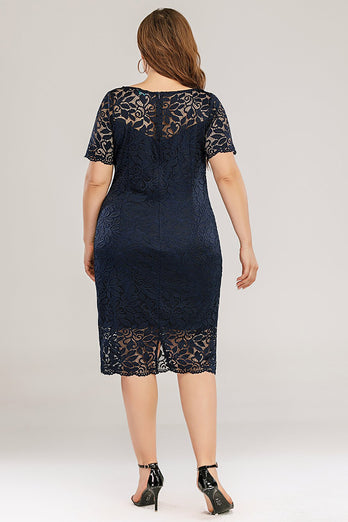 Navy Bodycon Kant Plus Size Jurk