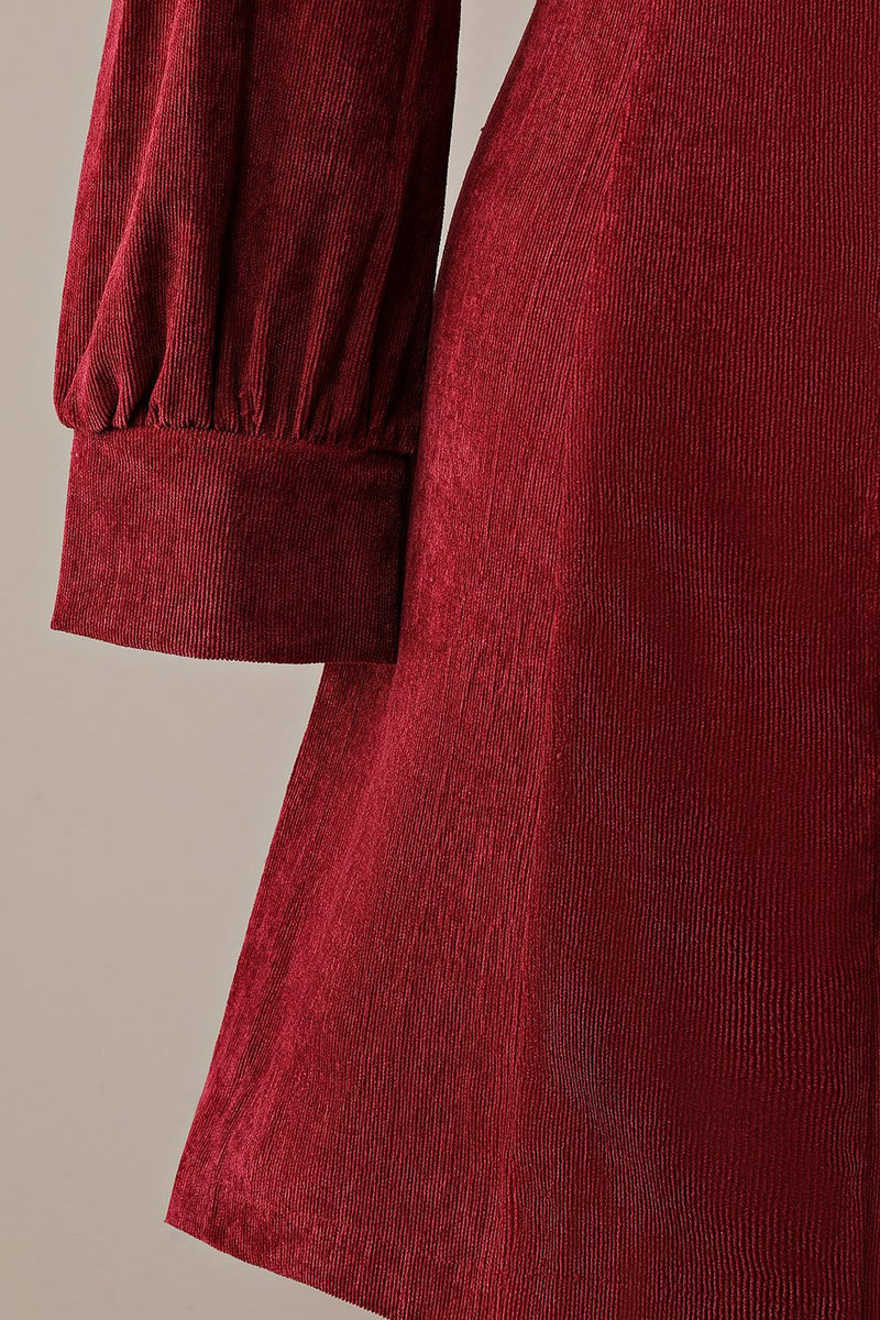 Afbeelding in Gallery-weergave laden, Bordeaux Retro Square Neck Corduroy A-line Jurk