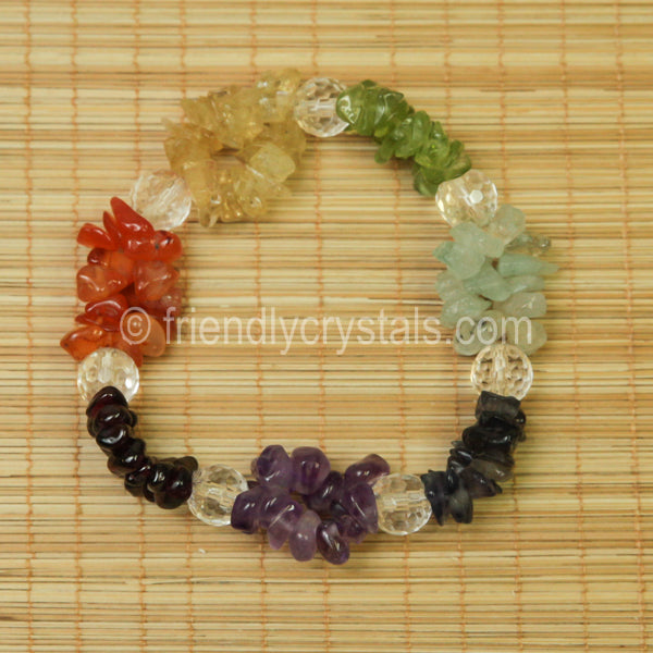 7-Chakra Chip Stretch Bracelet with Quartz bead