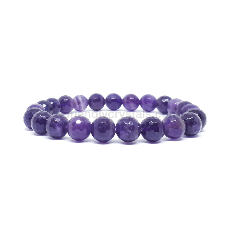 Amethyst Faceted Power Bracelet (8mm)