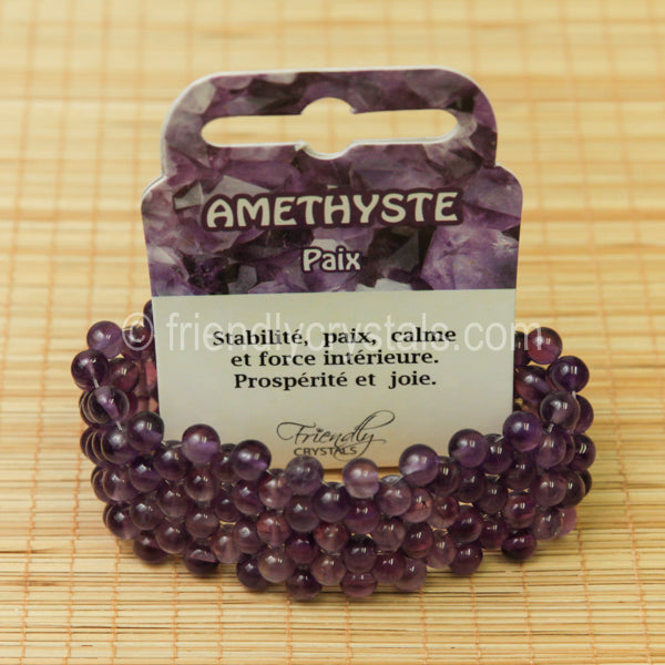 Amethyst Beaded Bracelet Broad