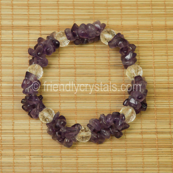 Amethyst Chip Stretch Bracelet with Quartz bead