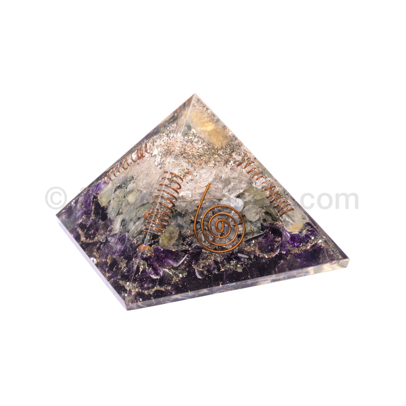 Amethyst/Prehnite/Quartz/Citrine Point Pyramid 90 mm