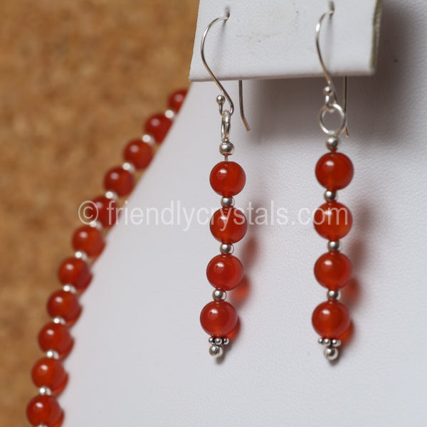 "Carnelian 92.5 SS Beaded 18"" Necklace & Earring Set"